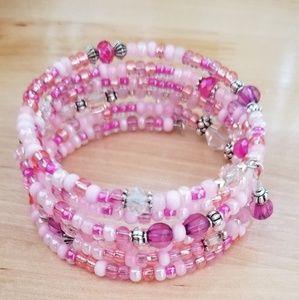 Jewelry - *New* Pink Beaded Memory Wire Bracelet